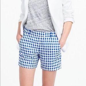 J. Crew Blue Gingham Linen Shorts Size 2